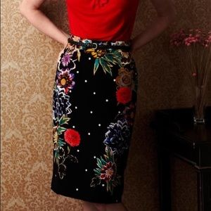 Yoana Baraschi Anthropologie Floral Pencil Skirt
